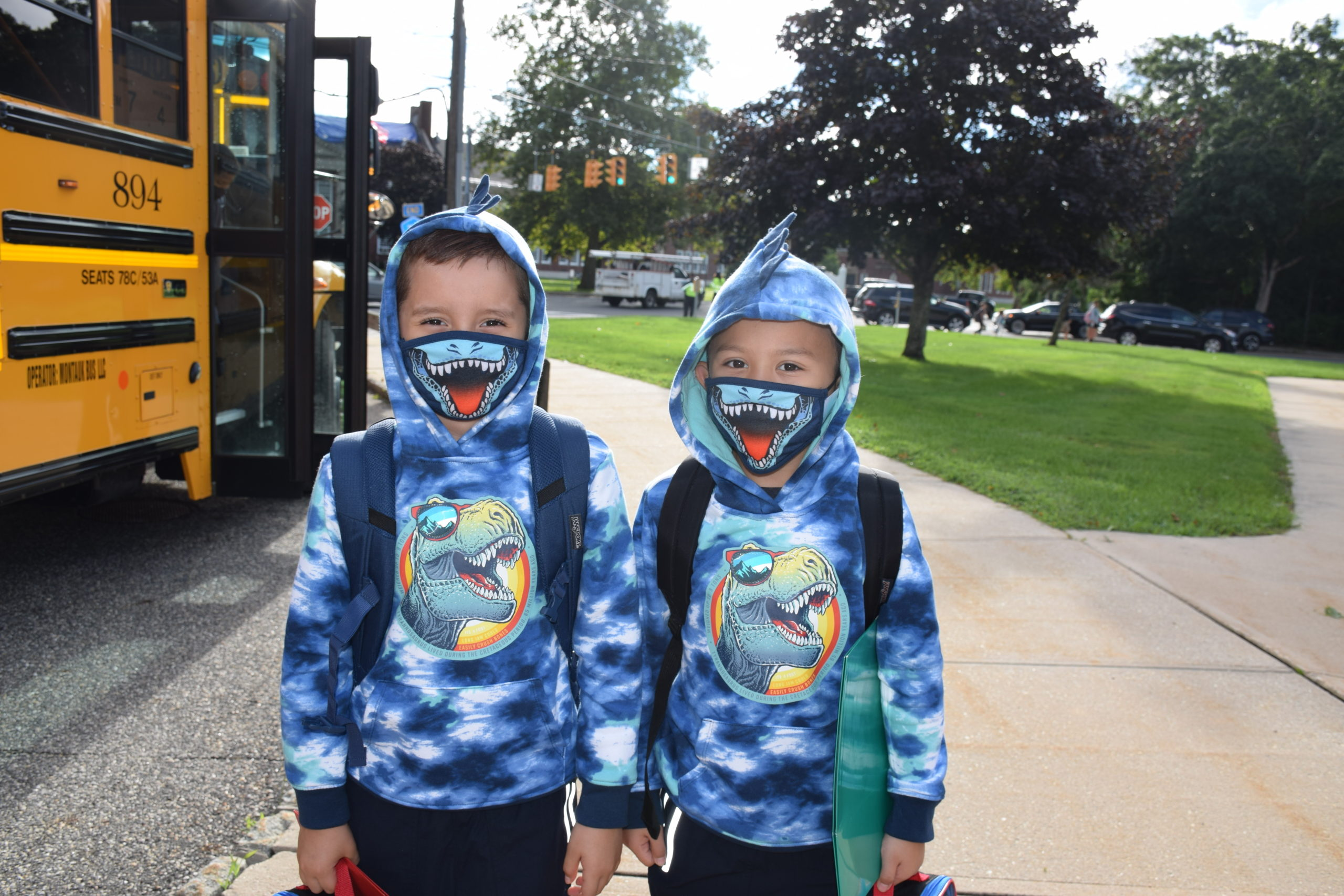 Westhampton Beach Elementary School students were all smiles as they arrived for their first day of school on September 2.