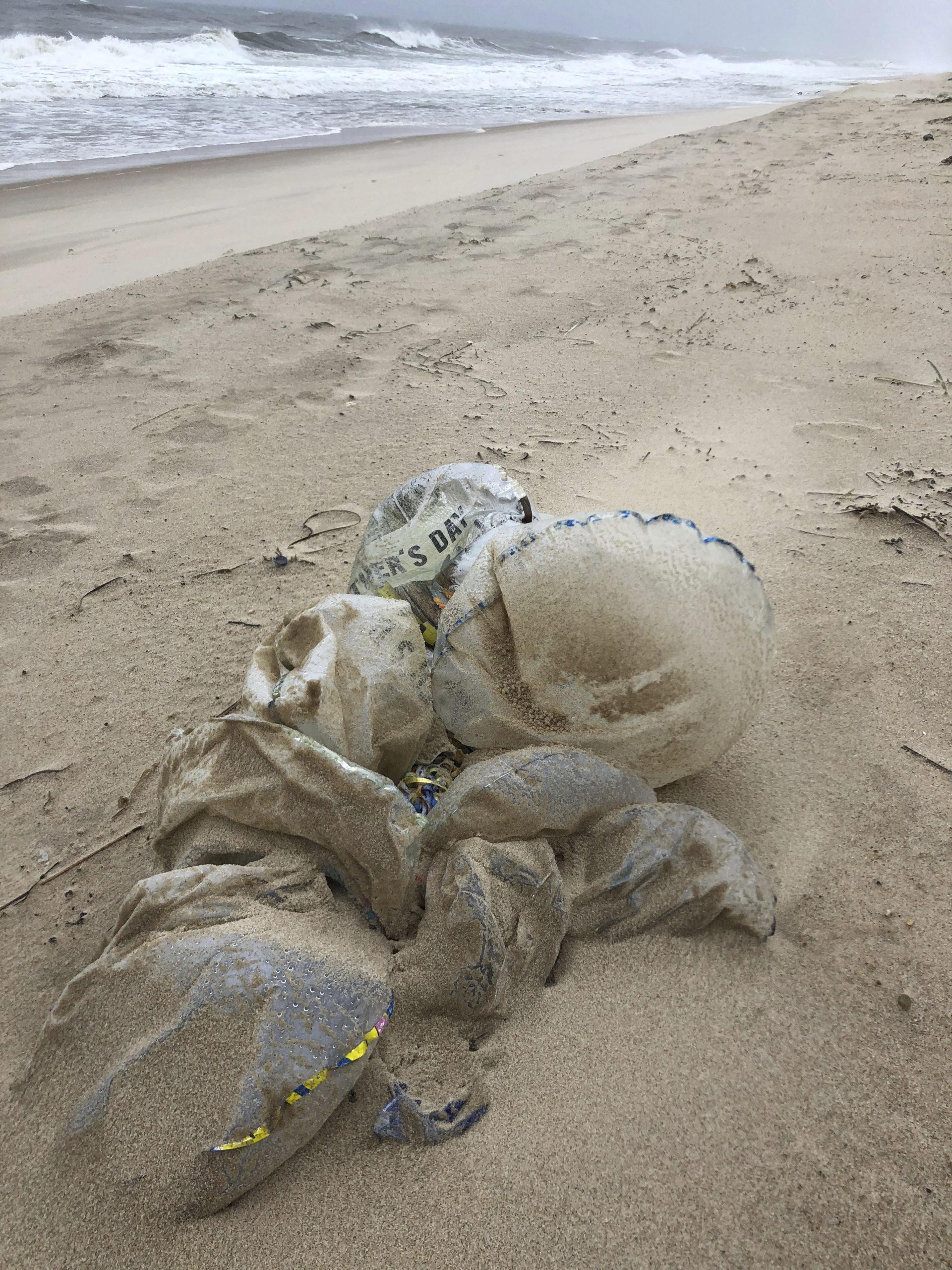 Mylar balloons on the beach in East Hampton.  MICHAEL WRIGHT