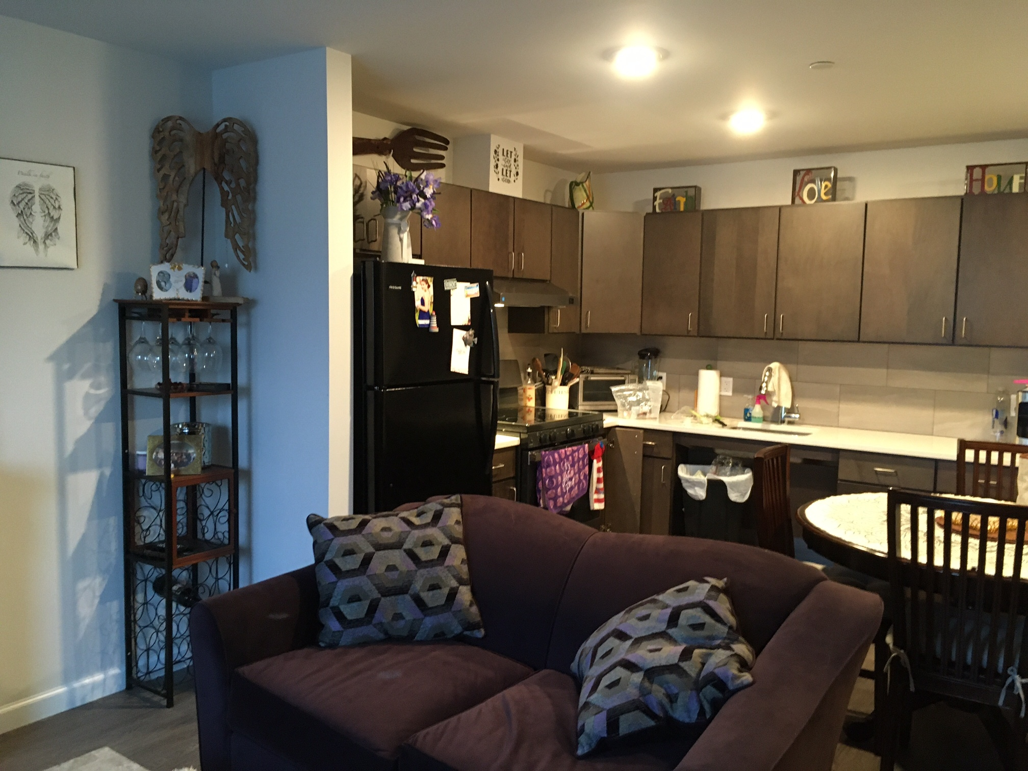 A cozy great room accommodates living and dining room and kitchen uses.
