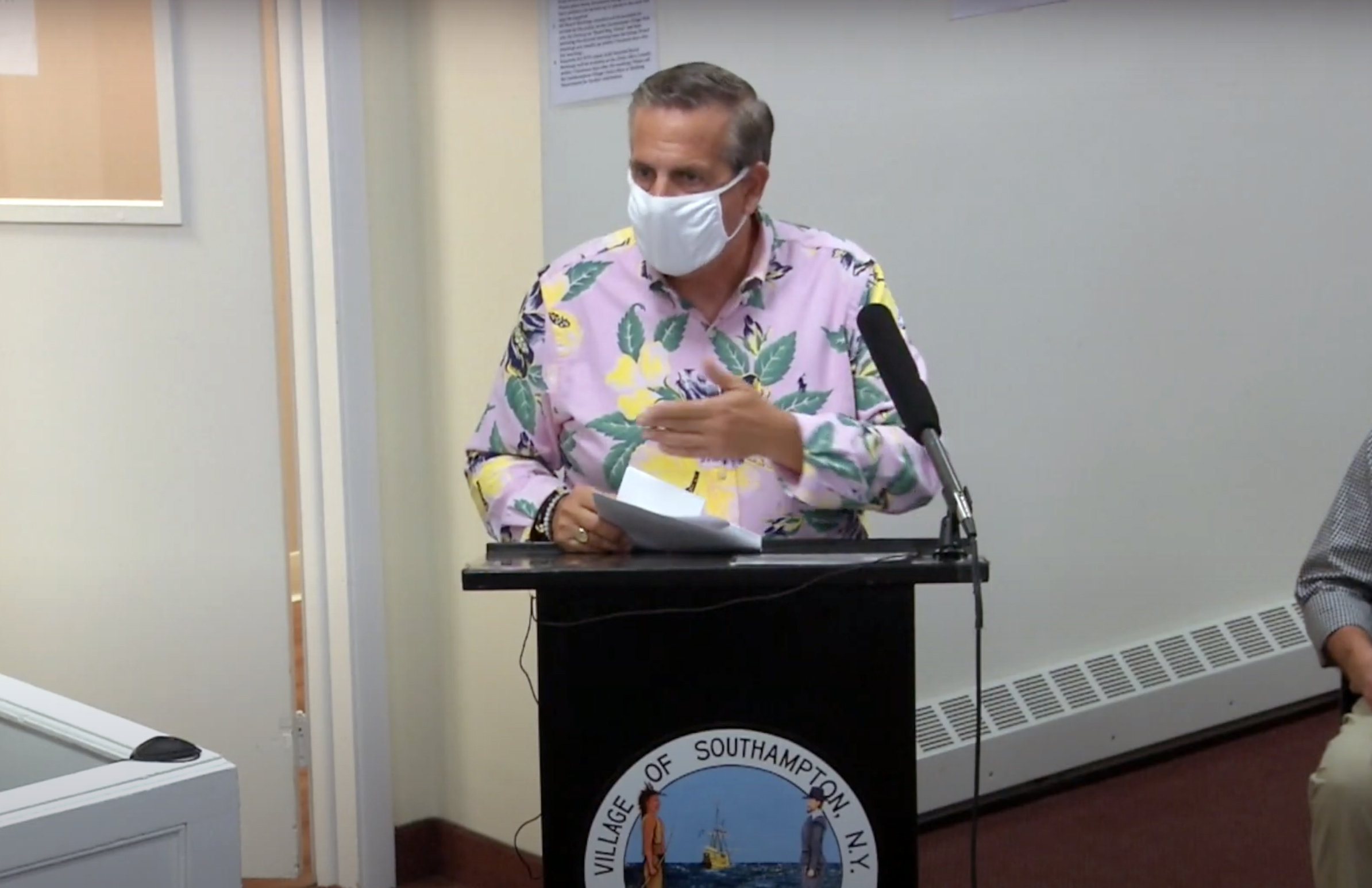 Gregory D'Elia speaks at the September 9 meetings of the Southampton Village Board.