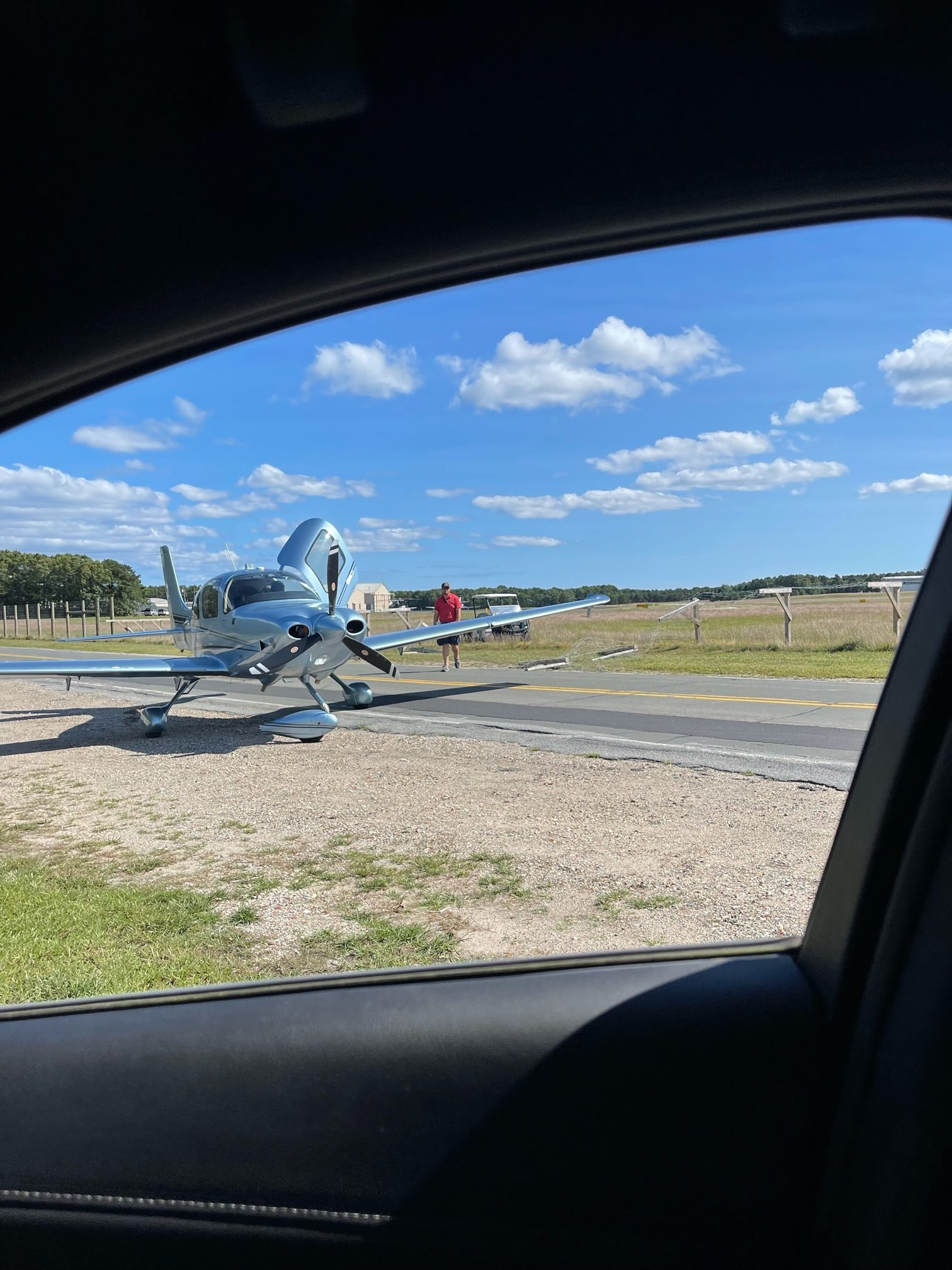 A small plane overshot the runway at East Hampton Airport.      Jackie Dunphy