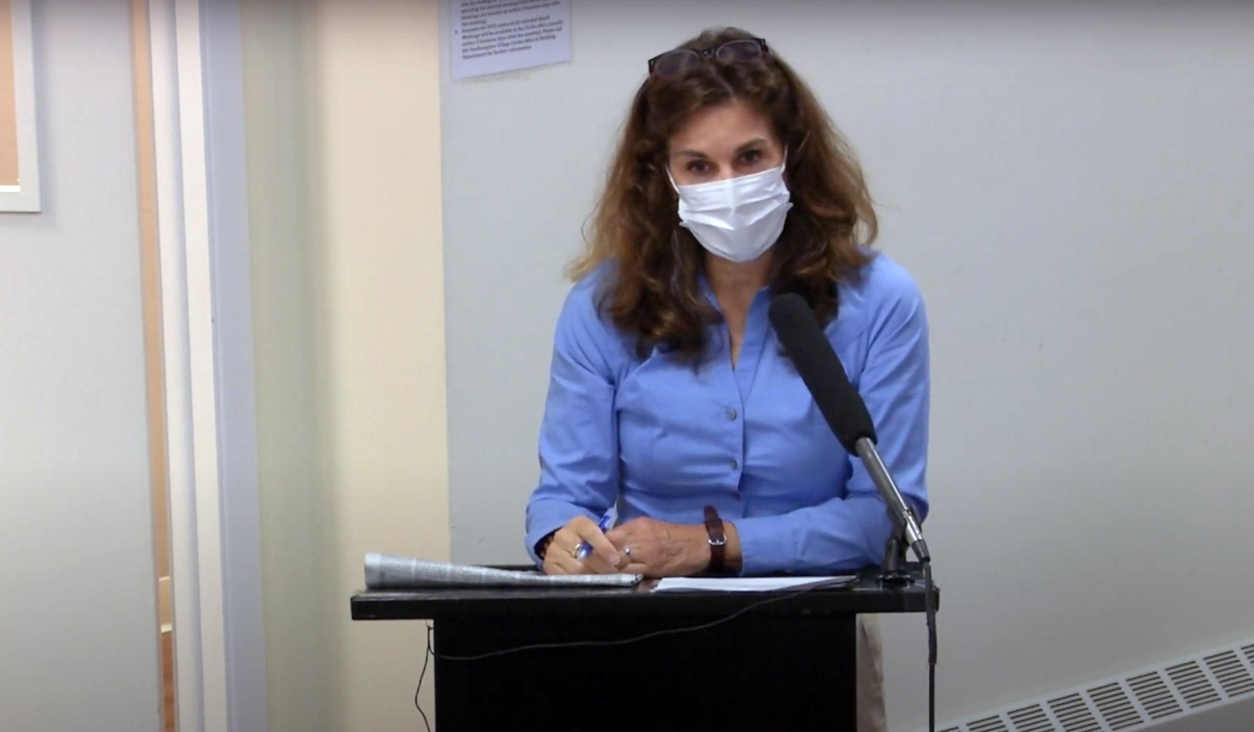 Kimberly Allan speaks at the September 9 Southampton Village Board meeting.