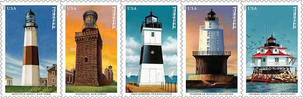 The Montauk Lighthouse is featured in the United States Postal Service's Mid-Atlantic Lighthouses stamp series. COURTESY USPS