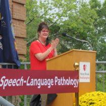 Renee Fabus, Chairwoman of the Stony Brook University Speech-Language Pathology Program at the ribbon cutting for the program's new facilities at the Stony Brook Southampton campus.