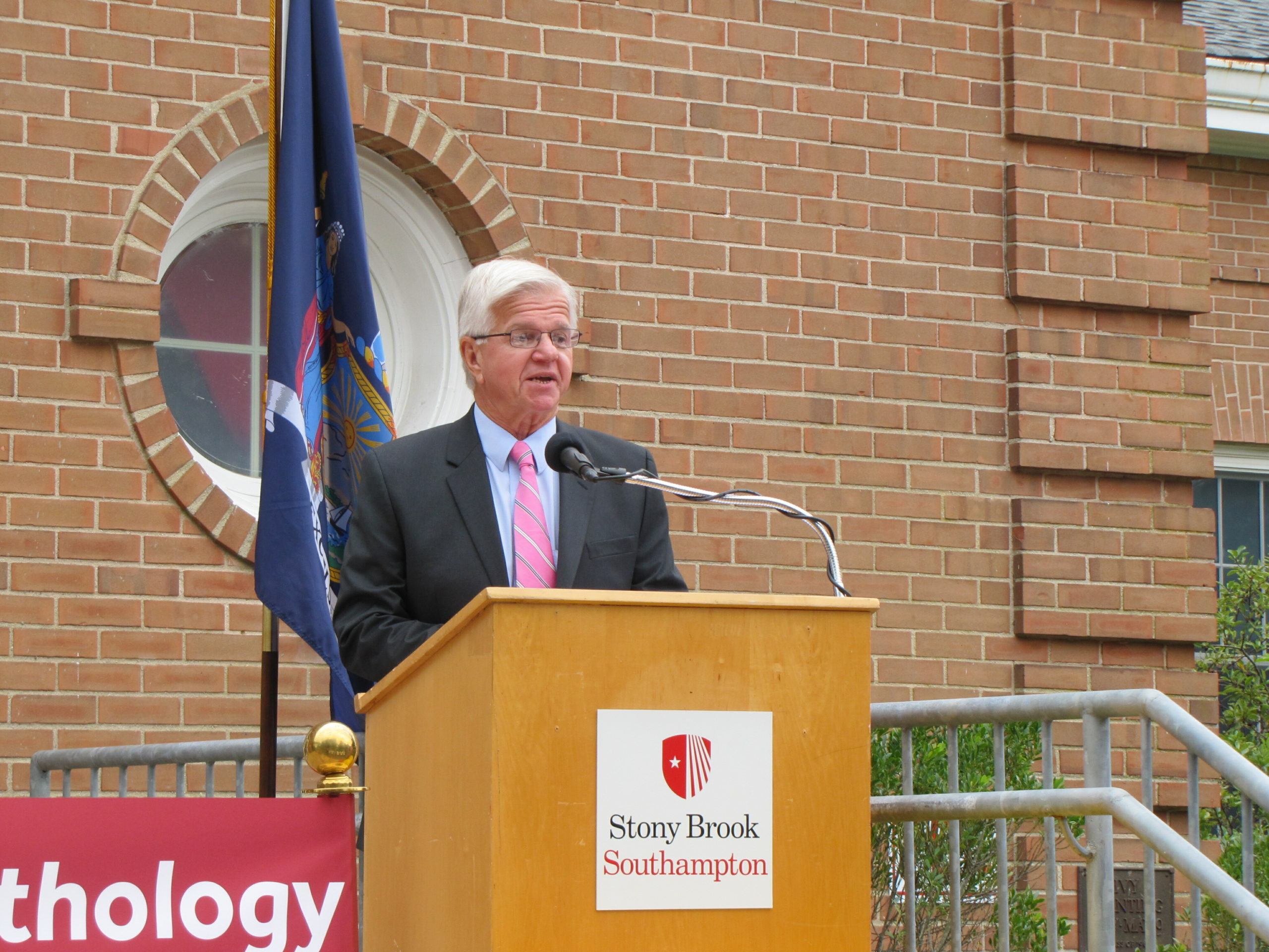 State Assemblyman Fred W. Thiele Jr. spoke as Stony Brook University officially opened its Speech-Language Patholgy Program's new center in the Atlantic Building at the Stony Brook Southampton campus on Friday.