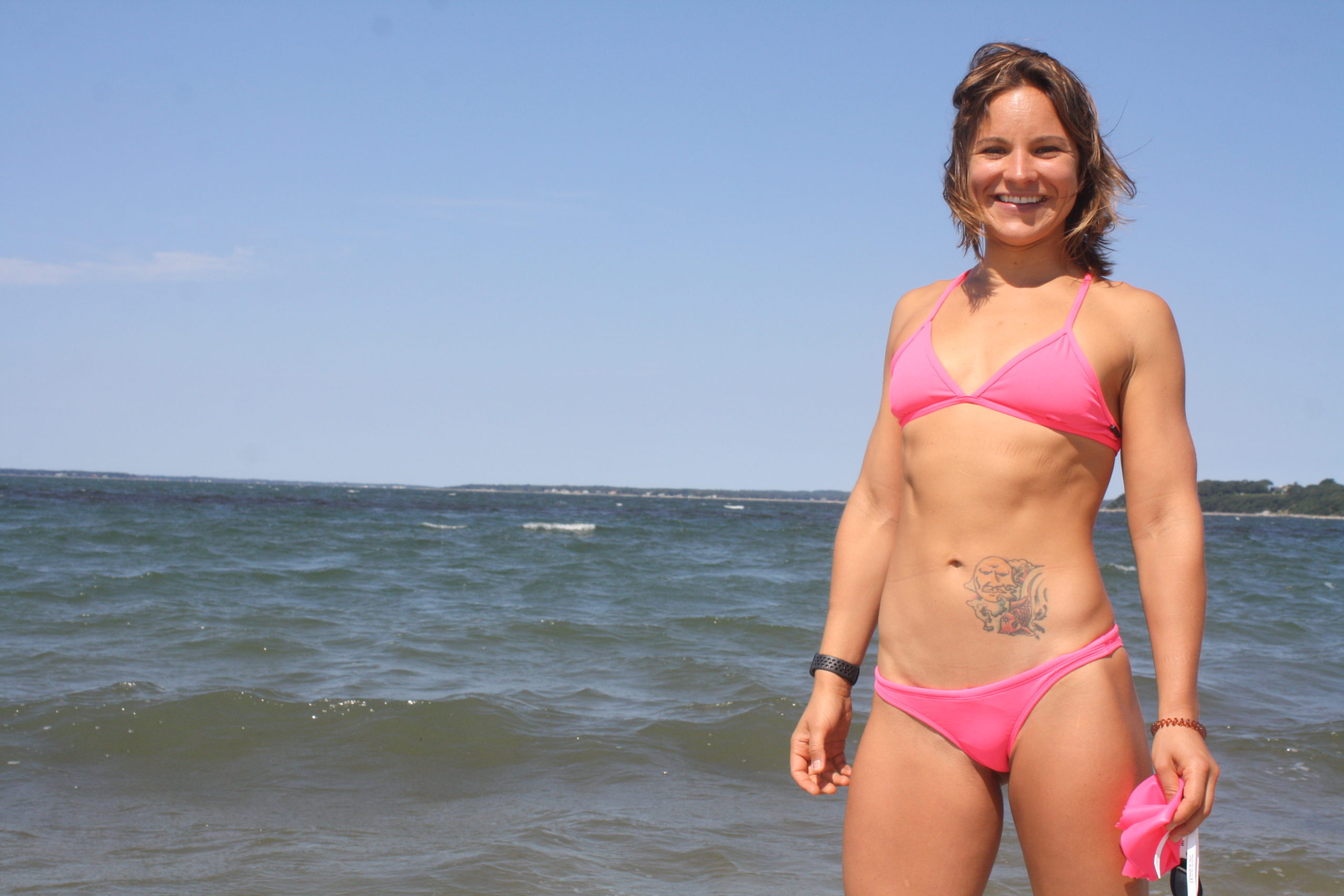 Taylor Diepold recently completed a swim around North Haven.