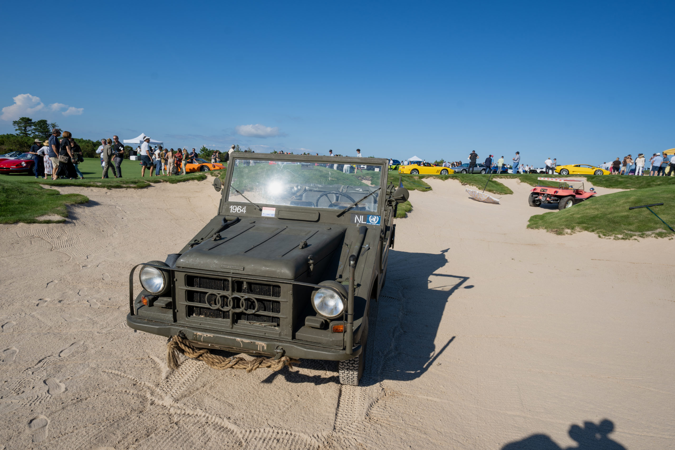 A 1964 Audi in one of the sand traps at The Bridge.