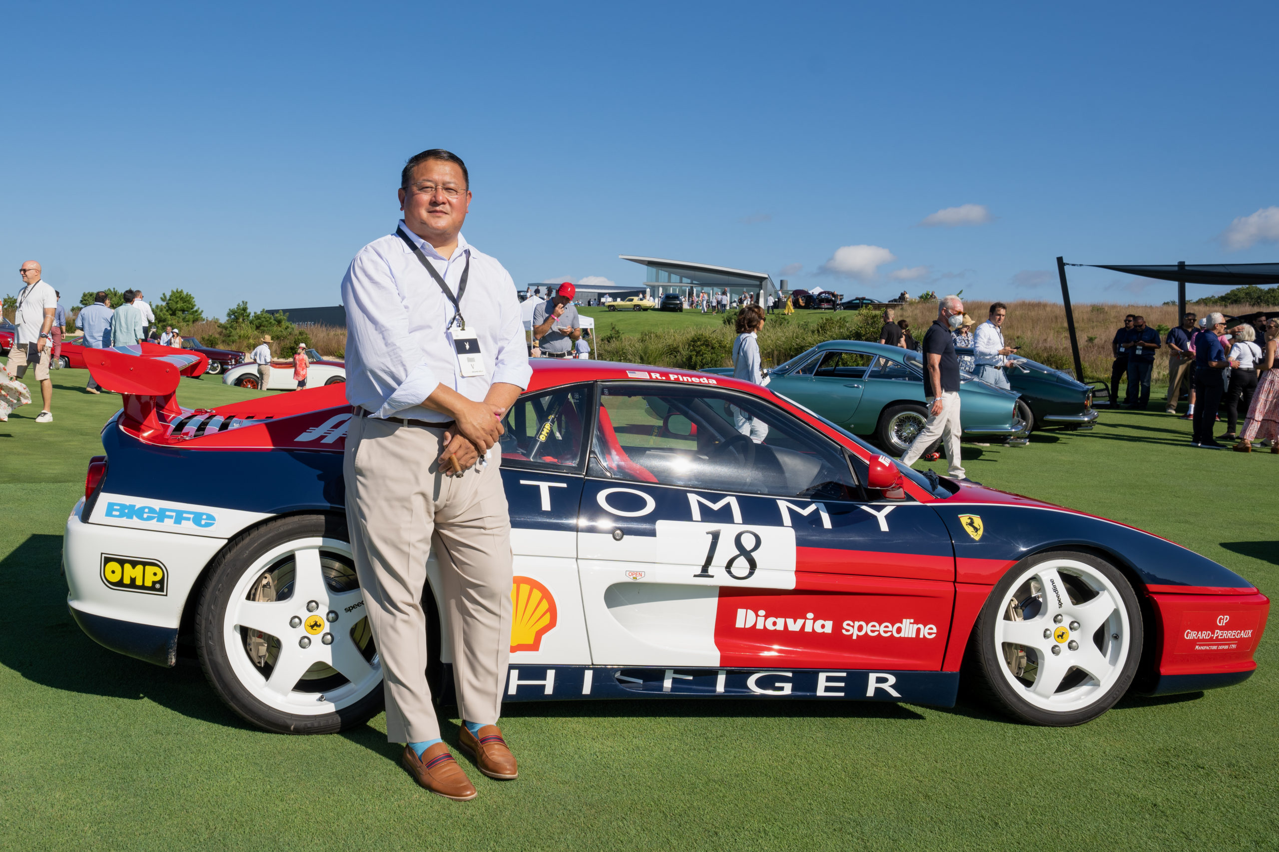 Richard Pineda of Bethany Beach, Delaware, with one of five Ferraris he was showing on Saturday.