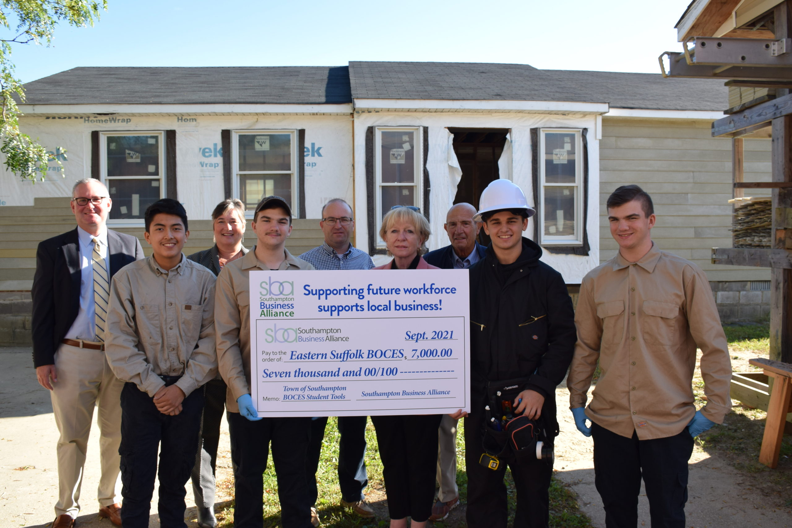 Five Hampton Bays students enrolled in Eastern Suffolk BOCES career and tech ed programs were presented with scholarships from the Southampton Business Alliance.