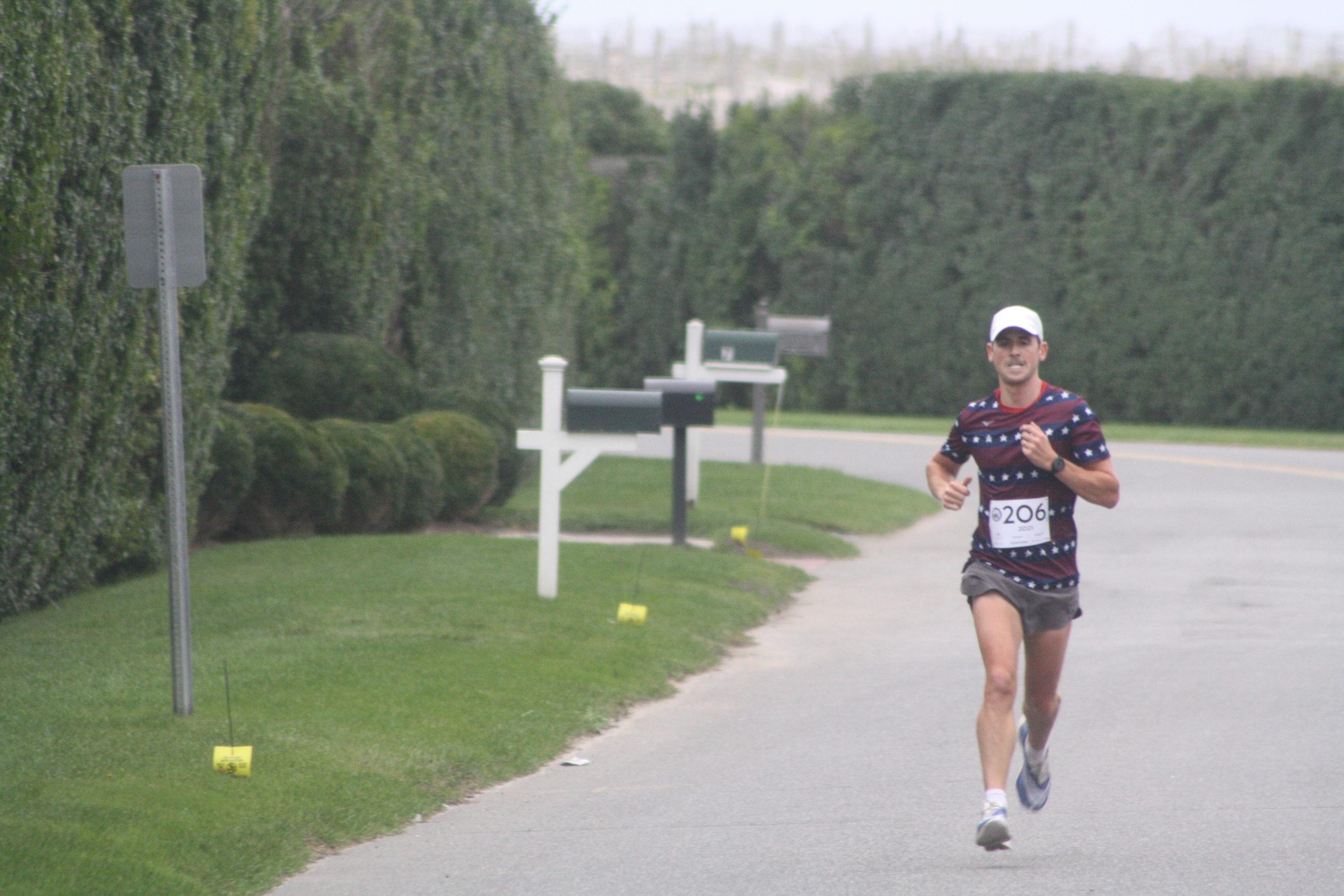 Oz Pearlman, a past winner of both the Firecracker 8K and the Hamptons Marathon, had a huge lead over the field for most of the race and won easily.