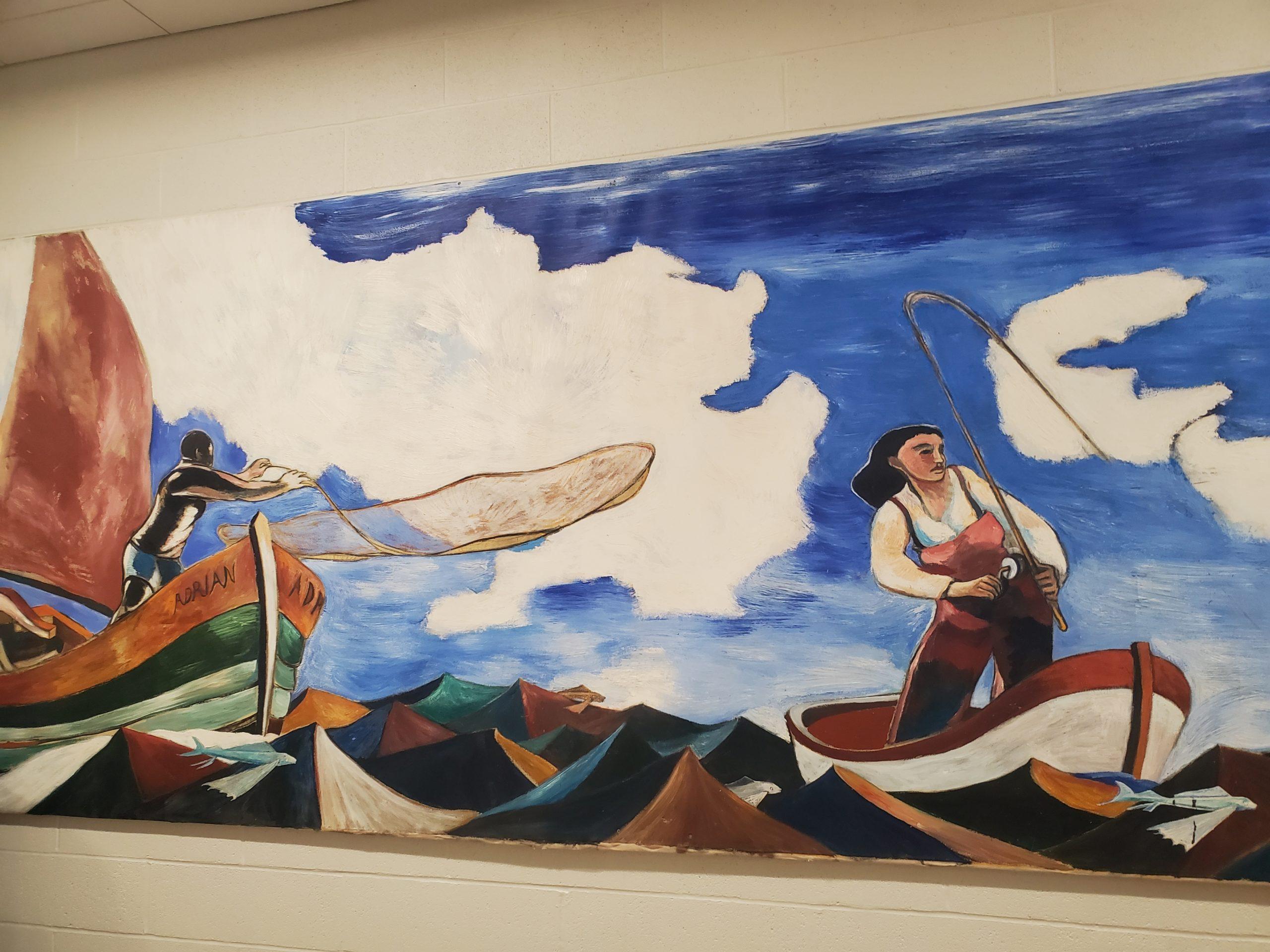 Richard Durkin donated this mural painted by artist Paton Miller to Bridgehampton School.