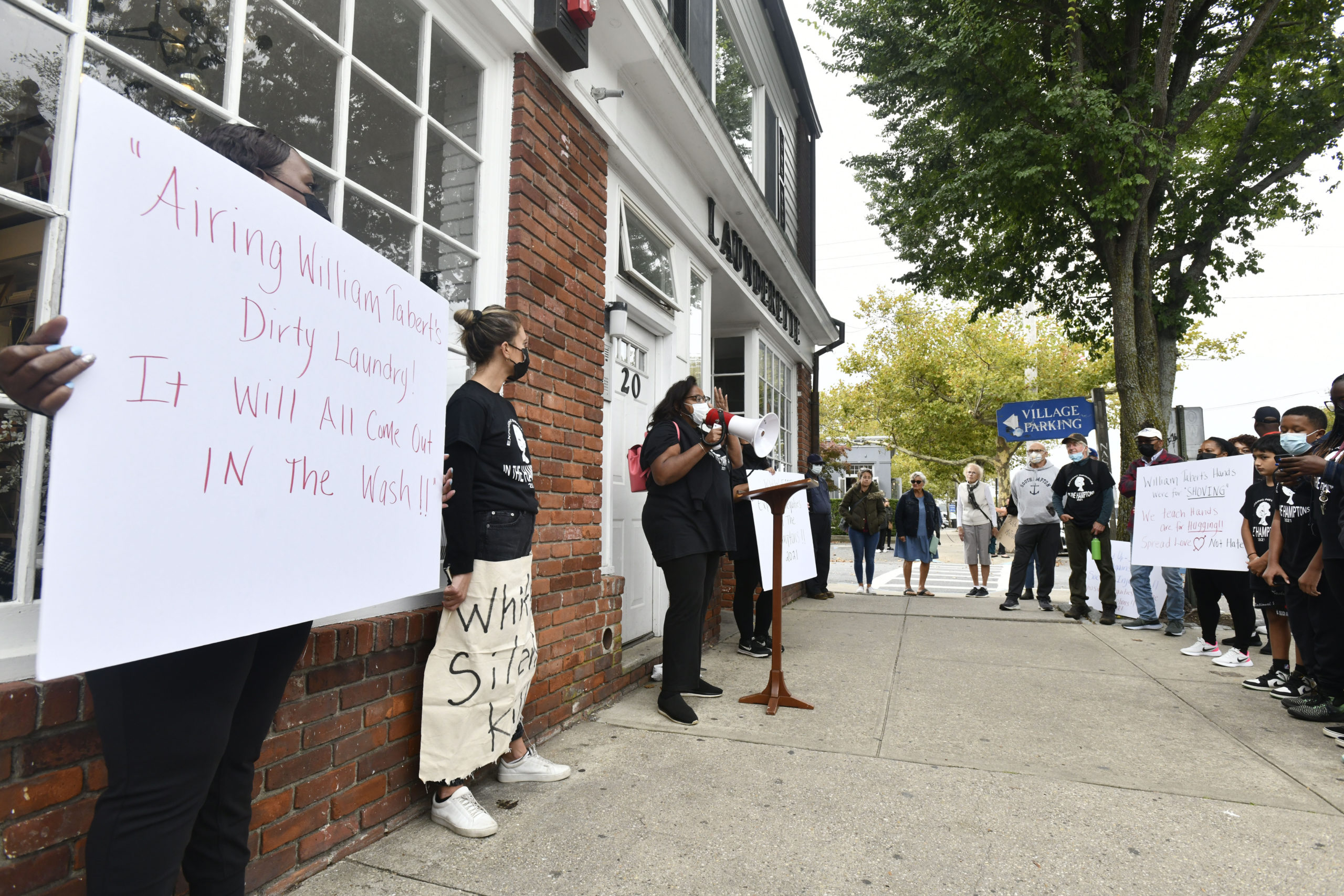 A protest was held at the Sag Harbor Launderette on Saturday.  DANA SHAW