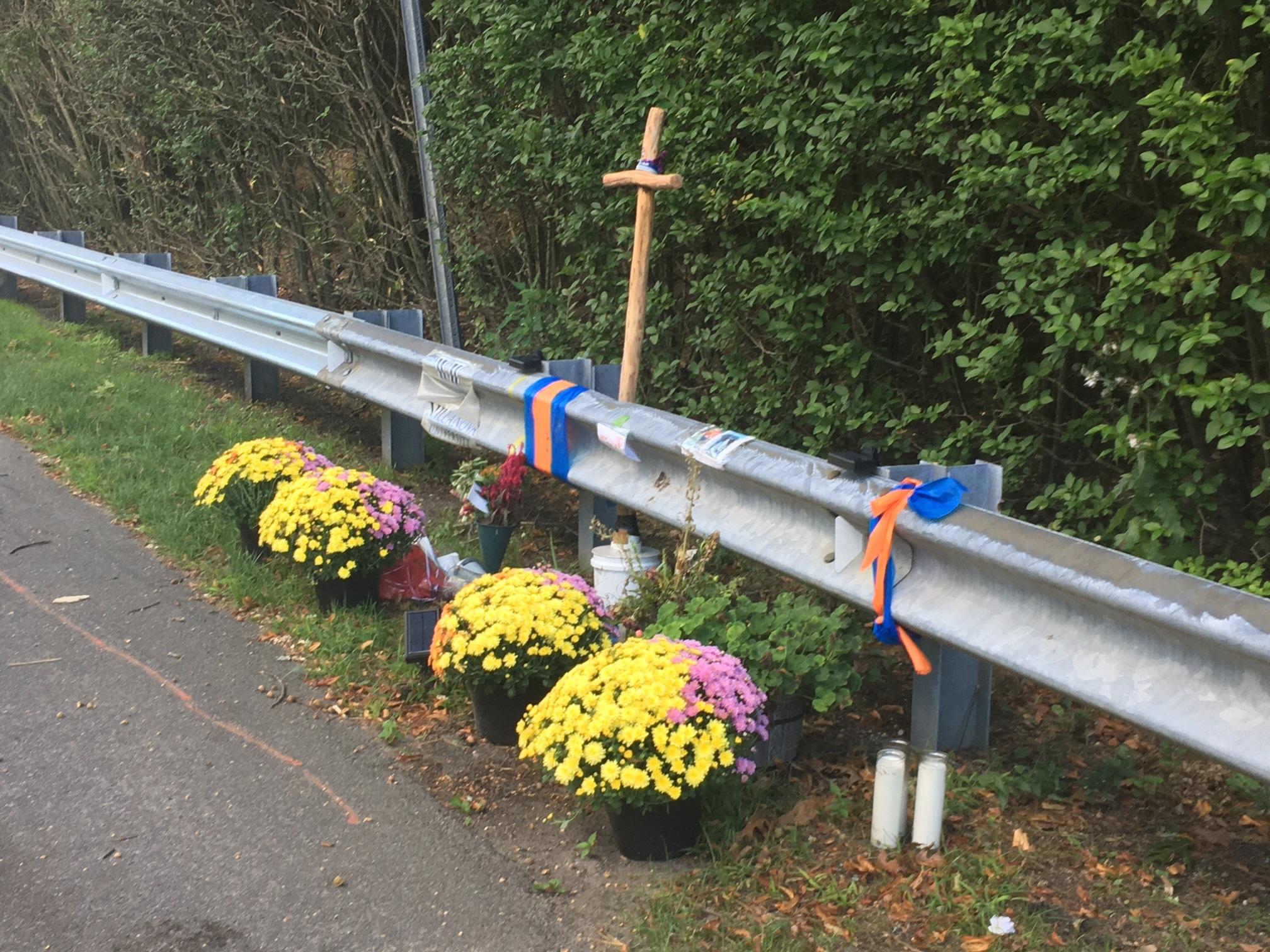 A roadside memorial near the crash site in Quogue.