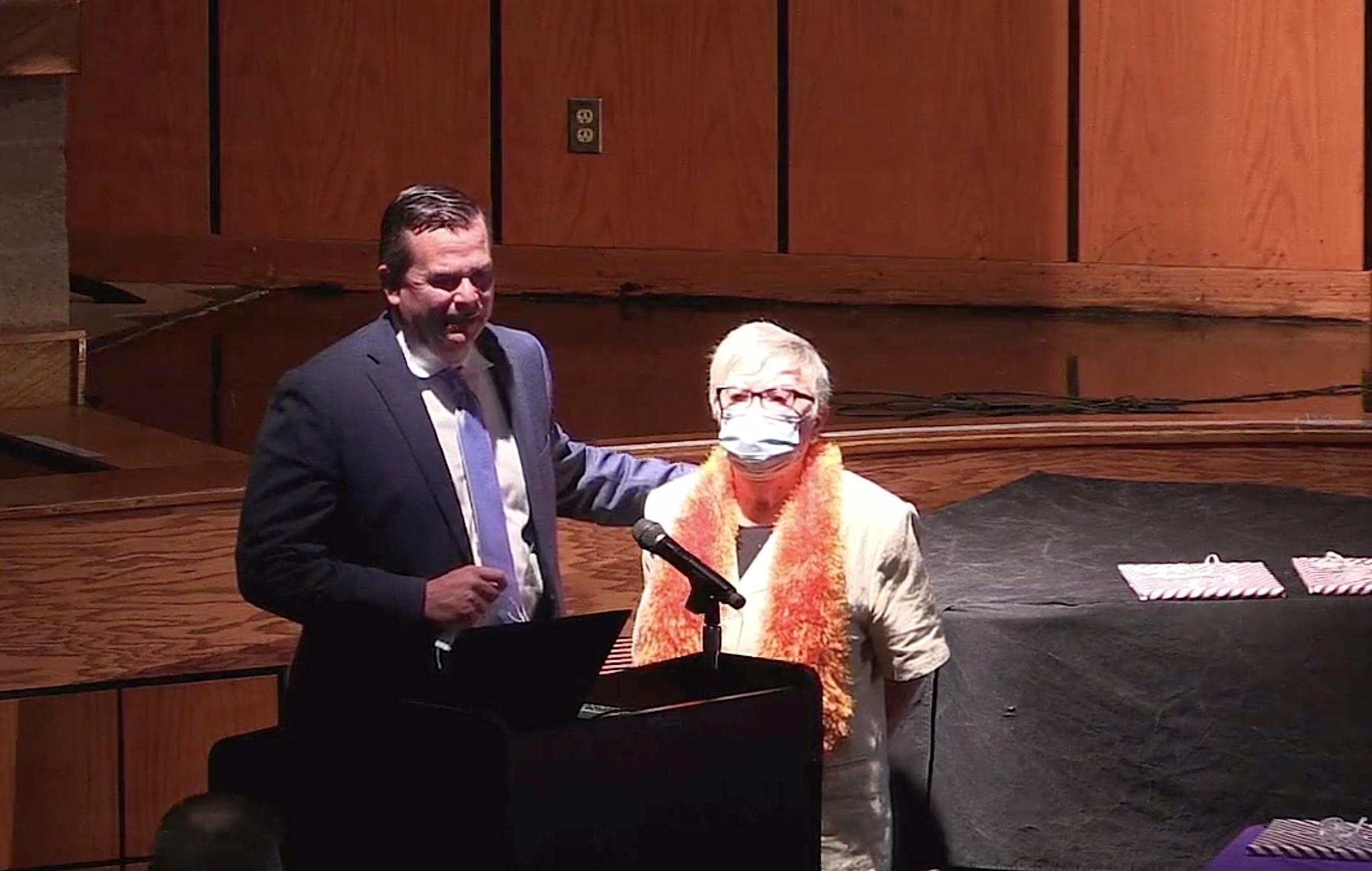 Hampton Bays Elementary School Principal Marc Meyer with teacher aide Margaret Byrnes.