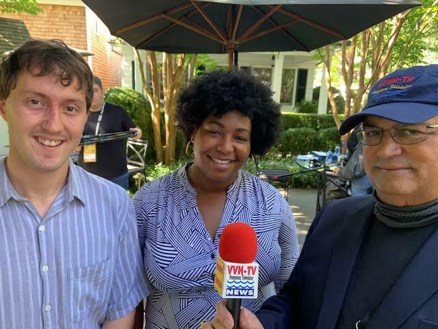 From left, Ben Karlin, Miya Jones, and WVVH-TV's Ernie Schimizzi.