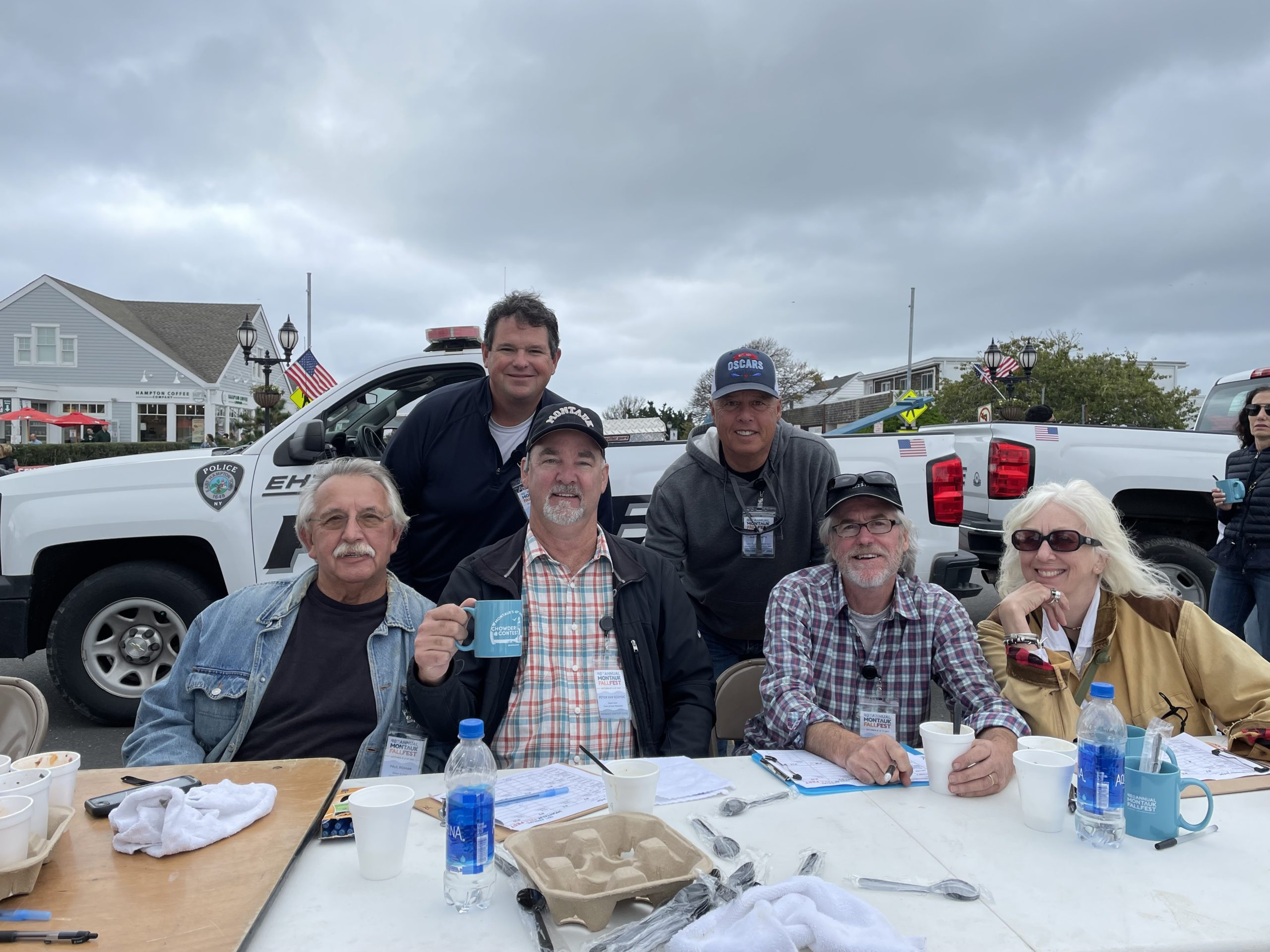 It's a tough job but someone has to do it: the clam chowder judges tasted all the entries at the 40th annual Montauk Fall Festival on Saturday. From left, Paul Roman, Gavin Menu, East Hampton Town Supervisor Peter Van Scoyoc, Mark Smith, Andrew Harris and Sally Richardson.