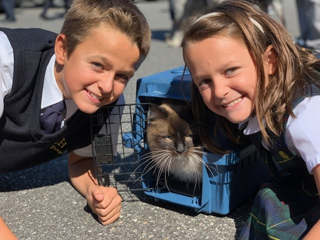 Our Lady of the Hamptons School student Jan Gredysa and  sister, Helena, brought their cat for the annual Blessing of the Animals.