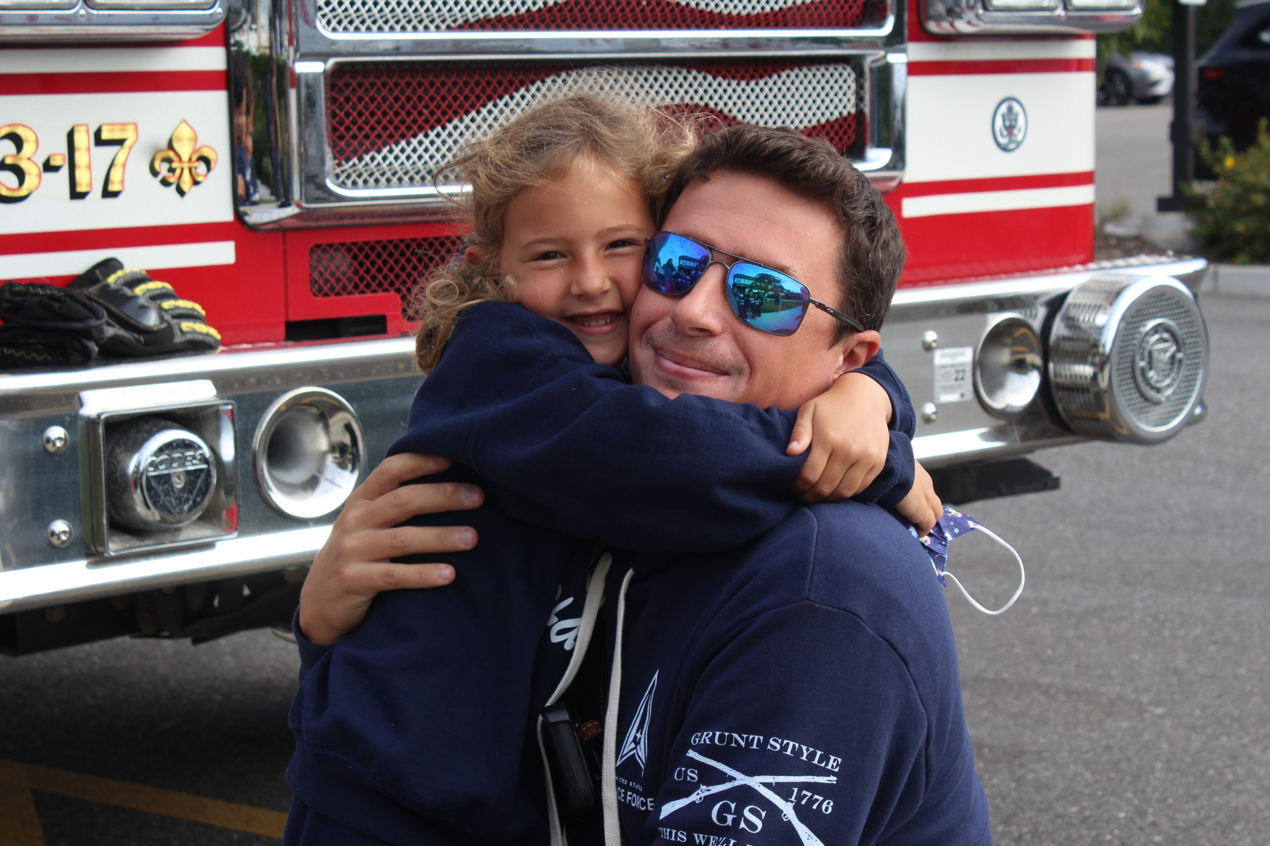 Our Lady of the Hamptons School first-grader Harper Callahan had a chance to greet her dad, Southampton Fire Chief Alfred Callahan.