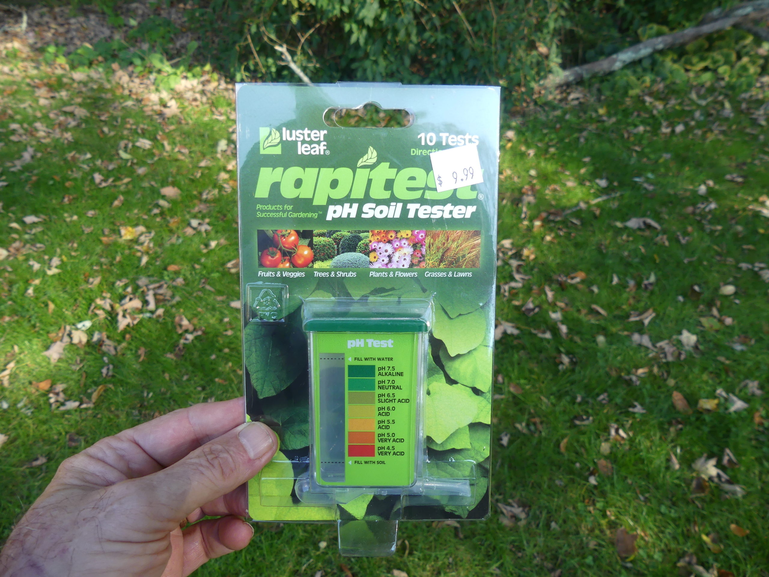 This is the perfect time to test your soil pH. Inexpensive kits like this one cost about $10 for ten tests. Remember to test several spots in your lawn, your vegetable garden and your landscape beds. ANDREW MESSINGER