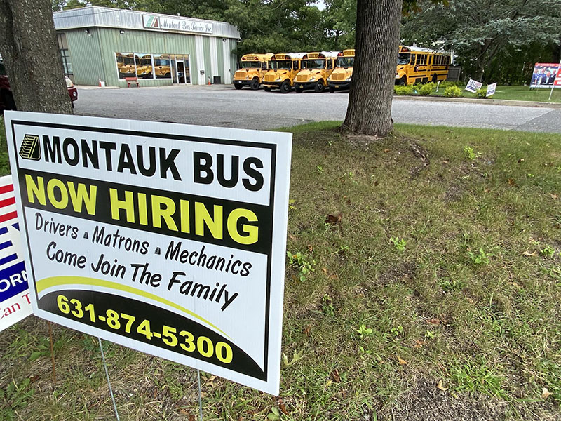 Montauk Bus Company is looking to hire drivers to close a shortage. DANA SHAW