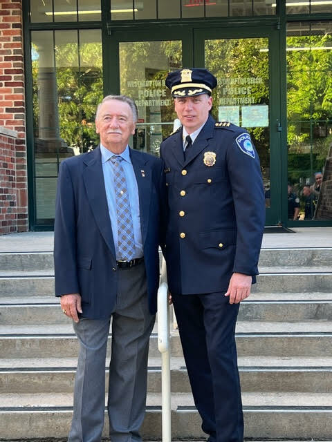 Steven J. McManus, pictured here with his father, was appointed as Westhampton Beach's chief of police on Oct. 7. COURTESY MARIA MOORE