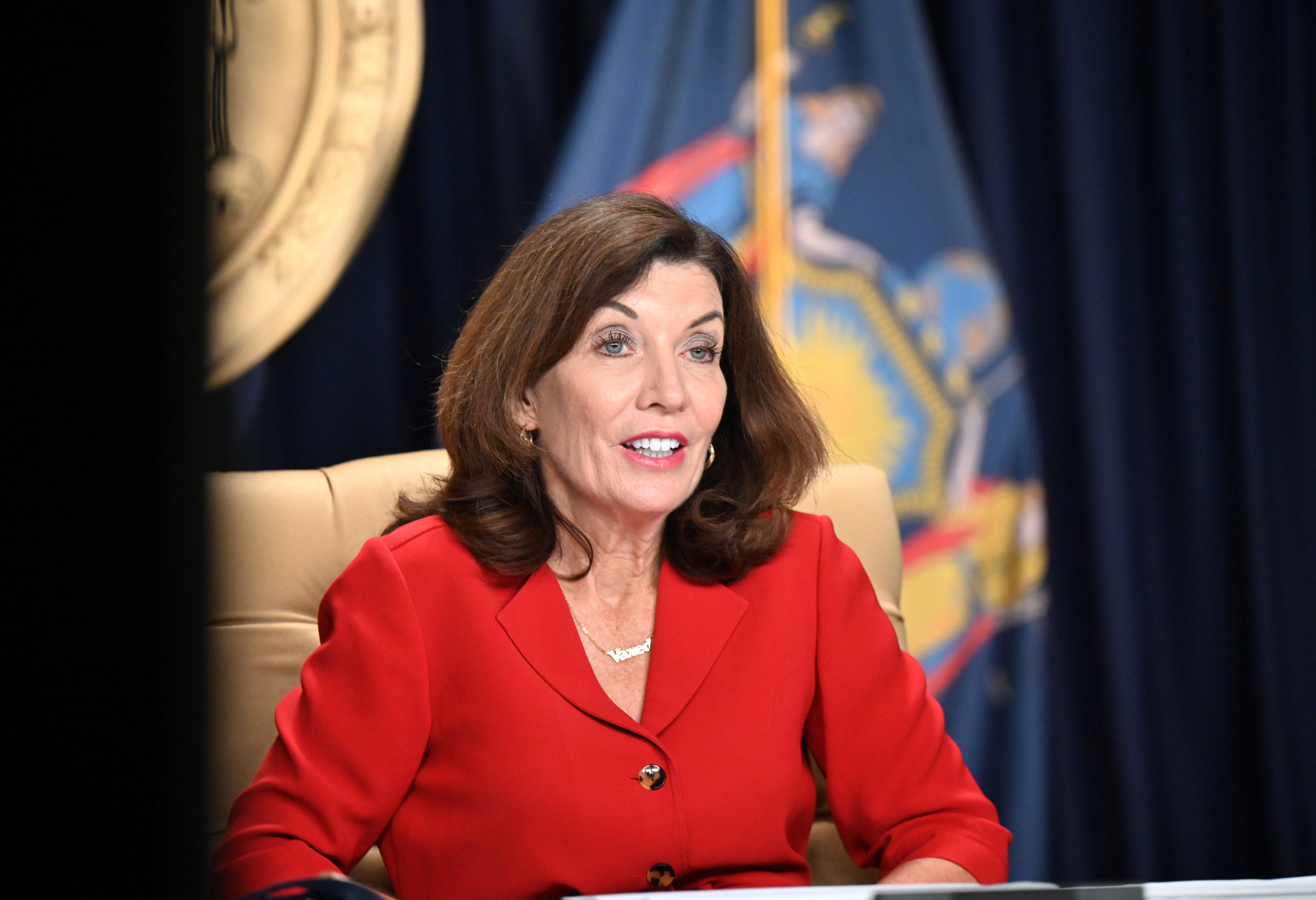 New York Governor Kathy Hochul has vowed to fight federal judge's decision that granted a preliminary injunction to state health care workers who are seeking religious-based exceptions against the COVID-19 vaccine mandate. MIKE GROLL/OFFICE OF GOVERNOR KATHY HOCHUL