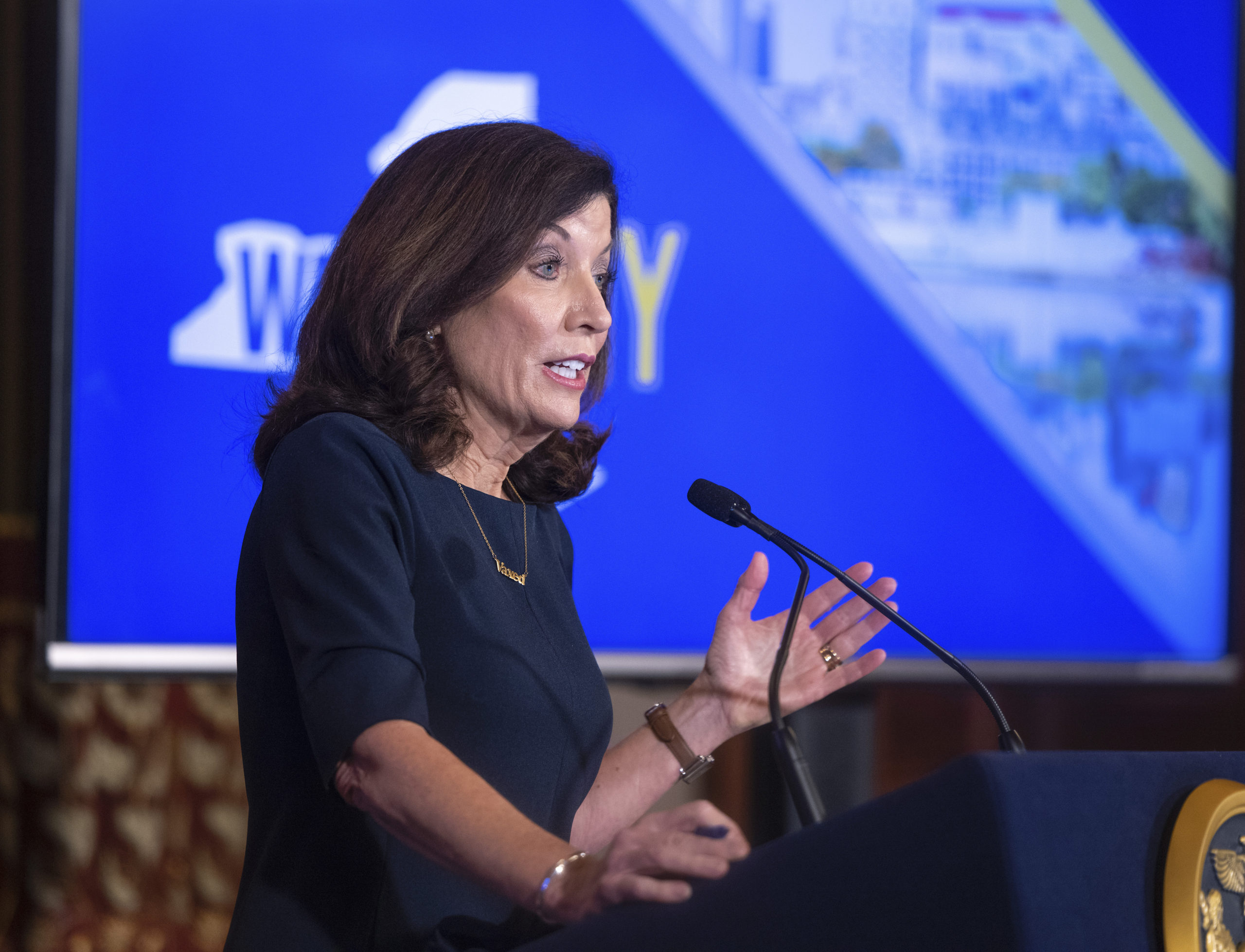New York Governor Kathy Hochul holds a COVID-19 briefing in the Red Room at the State Capitol. MIKE GROLL/OFFICE OF GOVERNOR KATHY HOCHUL